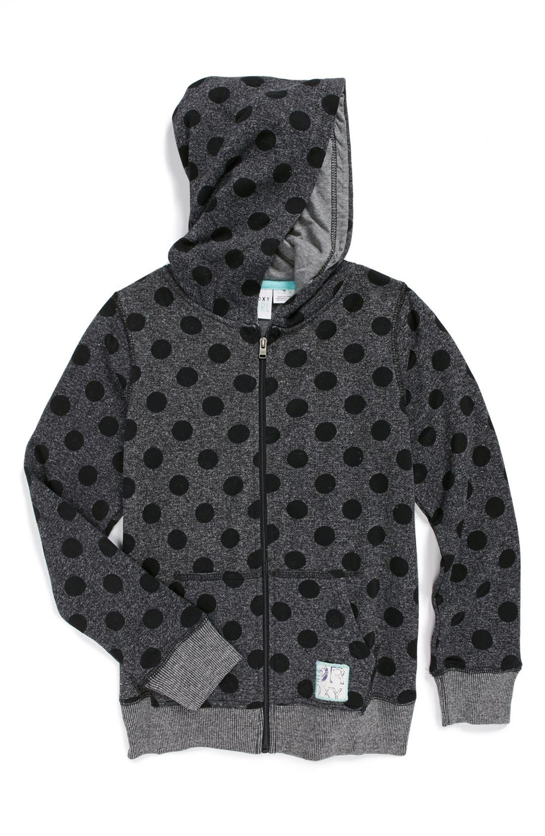 Alternate Image 1 Selected - Roxy 'Down the Hill' Logo Hoodie (Big Girls)