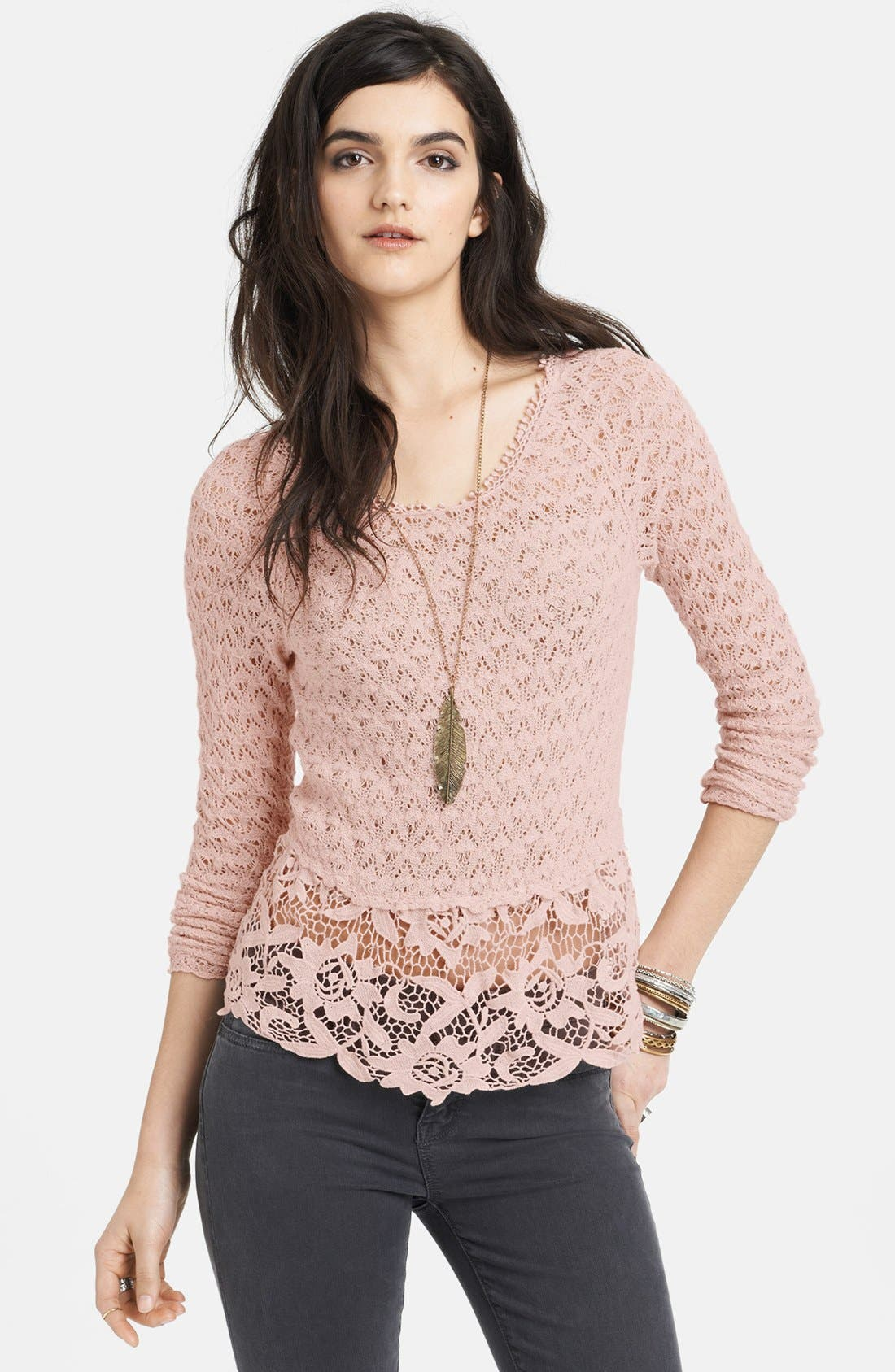 Main Image - Free People Tie Back Mixed Media Top
