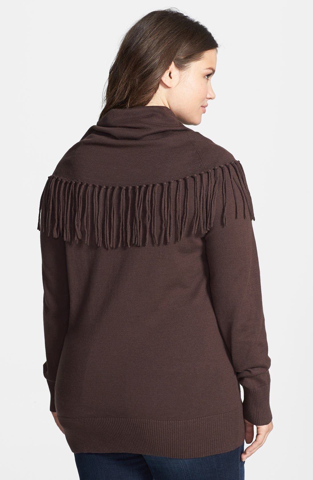 Alternate Image 2  - MICHAEL Michael Kors Fringed Cowl Neck Sweater (Plus Size)