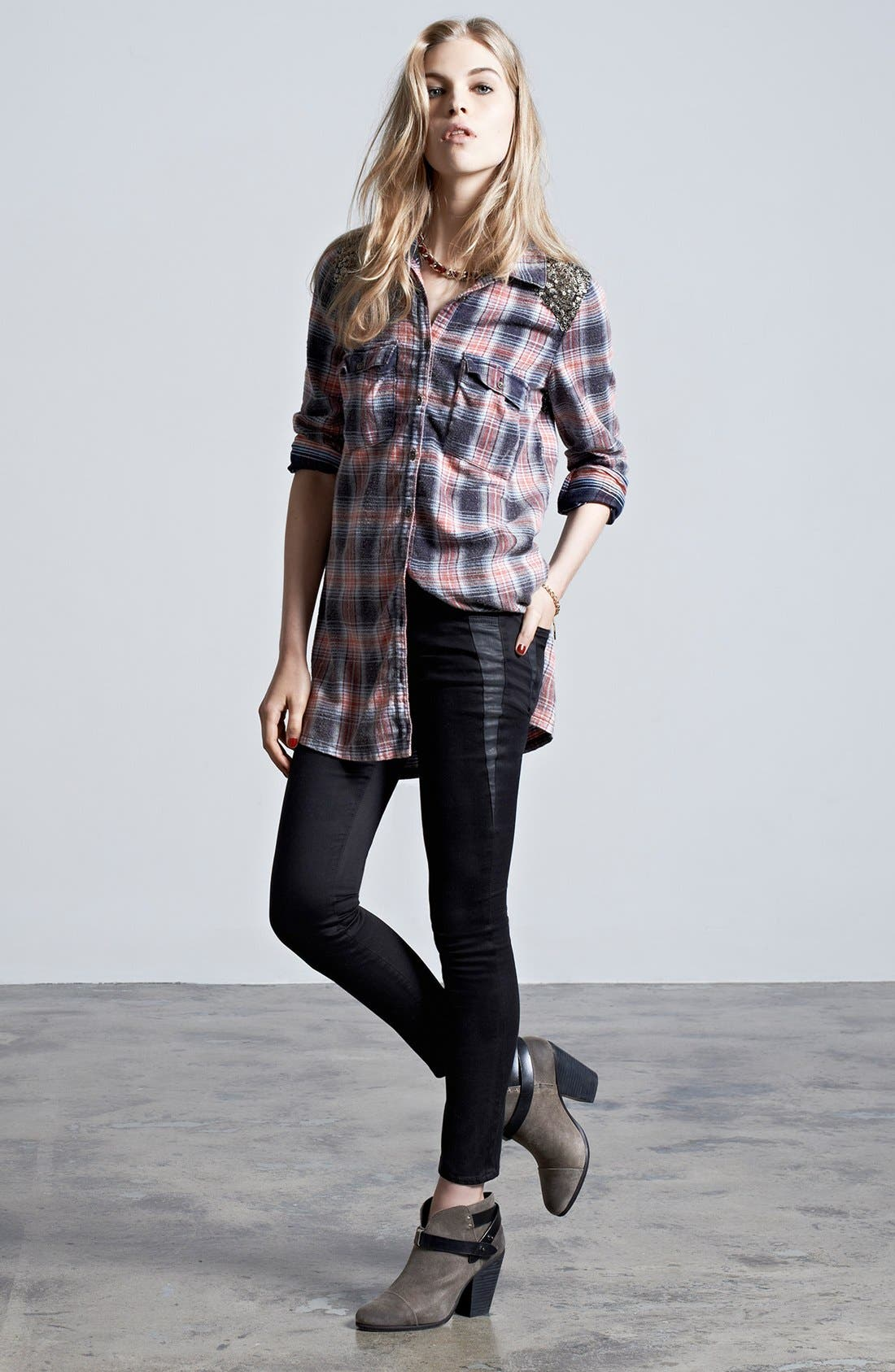 Alternate Image 1 Selected - Free People Tunic Shirt & Joe's Ankle Jeans
