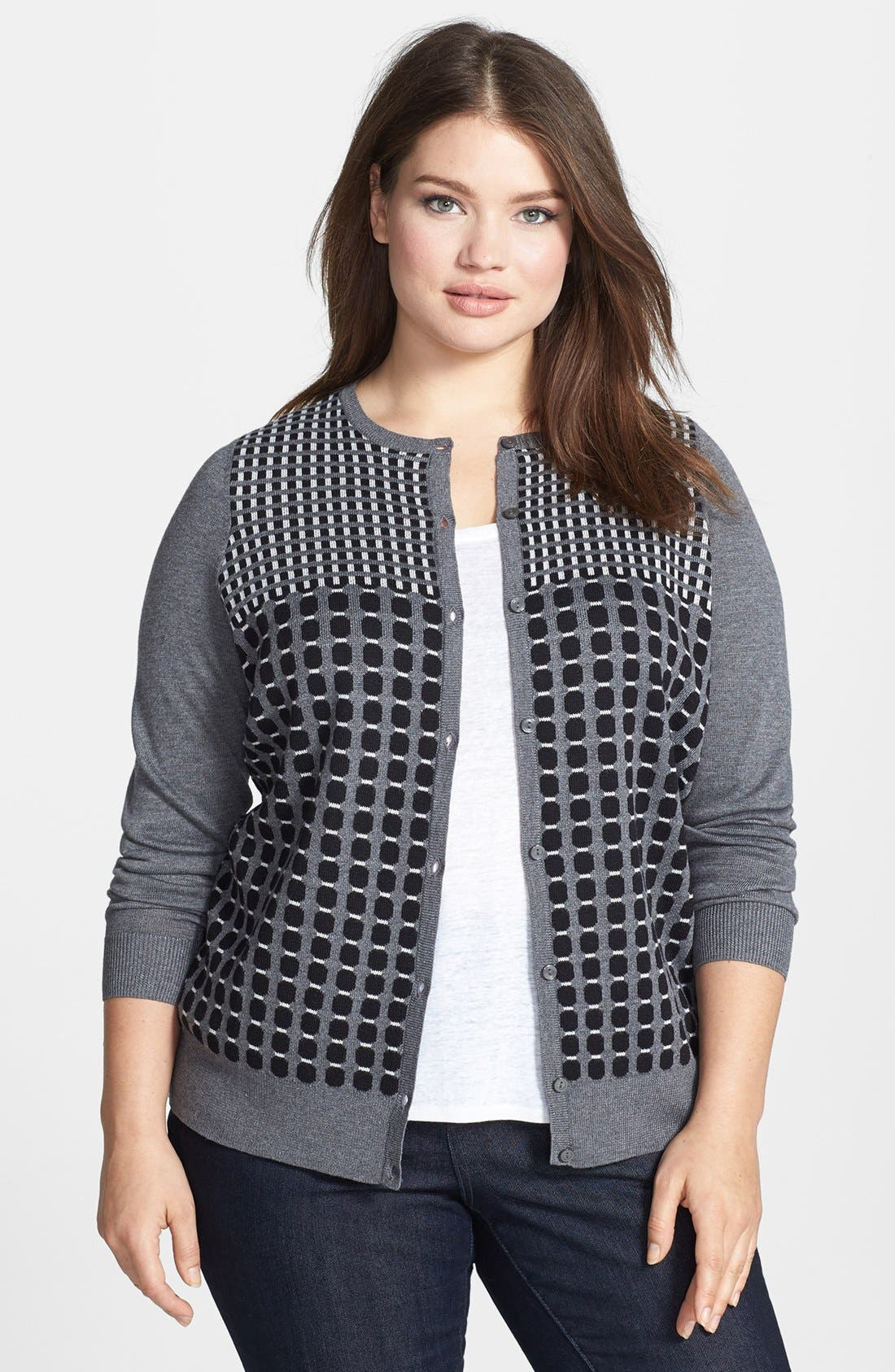 Alternate Image 1 Selected - Halogen® Stripe Cardigan (Plus Size)