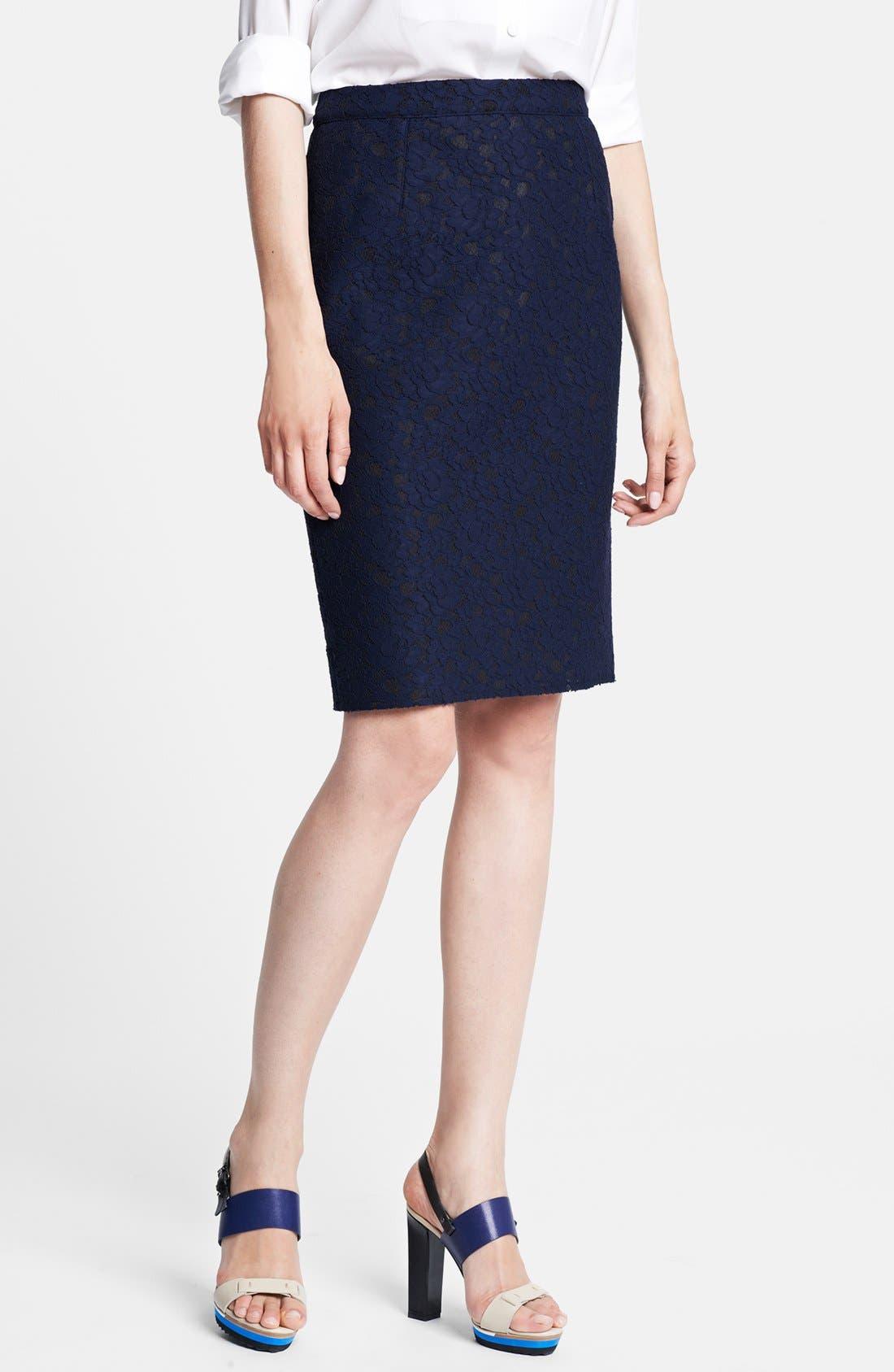 Main Image - Lanvin Floral Lace Pencil Skirt