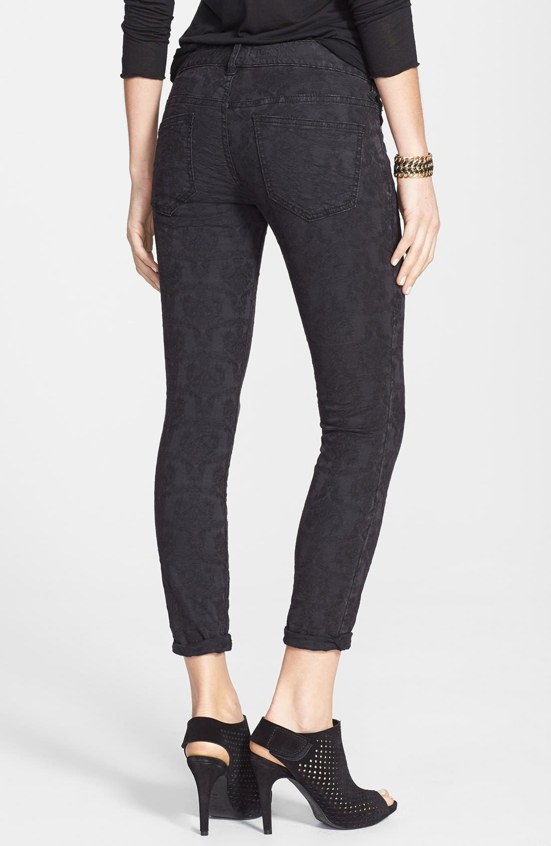 Alternate Image 2  - Free People Jacquard Skinny Jeans (Cranberry)