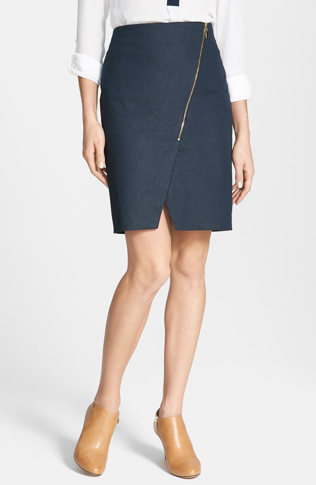Alternate Image 1 Selected - Vince Camuto 'Smart Denim' Asymmetrical Zip Skirt (Petite)