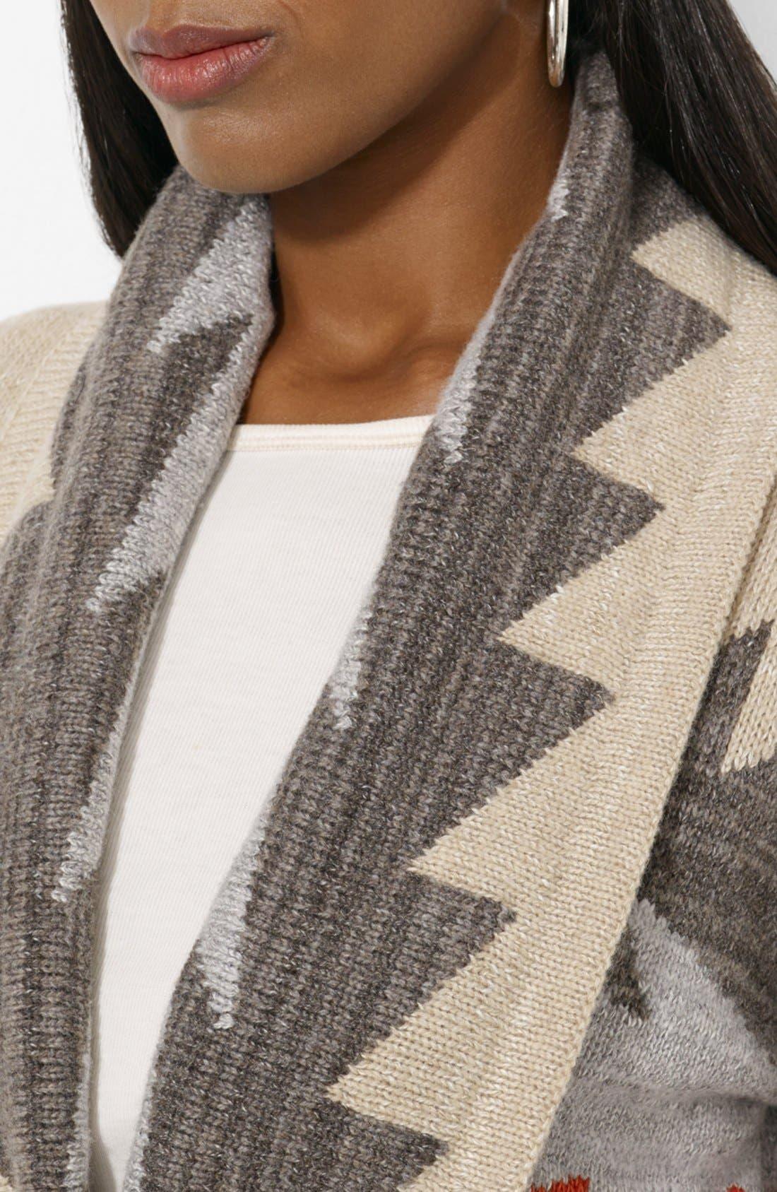 Alternate Image 3  - Lauren Ralph Lauren Patterned Shawl Collar Cardigan
