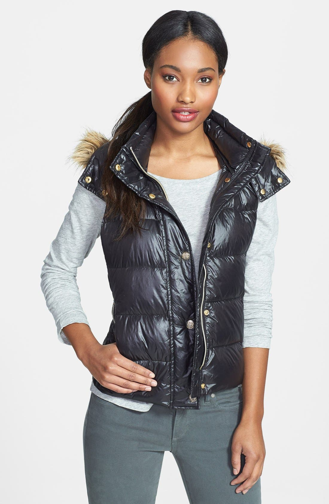 Alternate Image 1 Selected - Vince Camuto Faux Fur Trim Hooded Down Vest