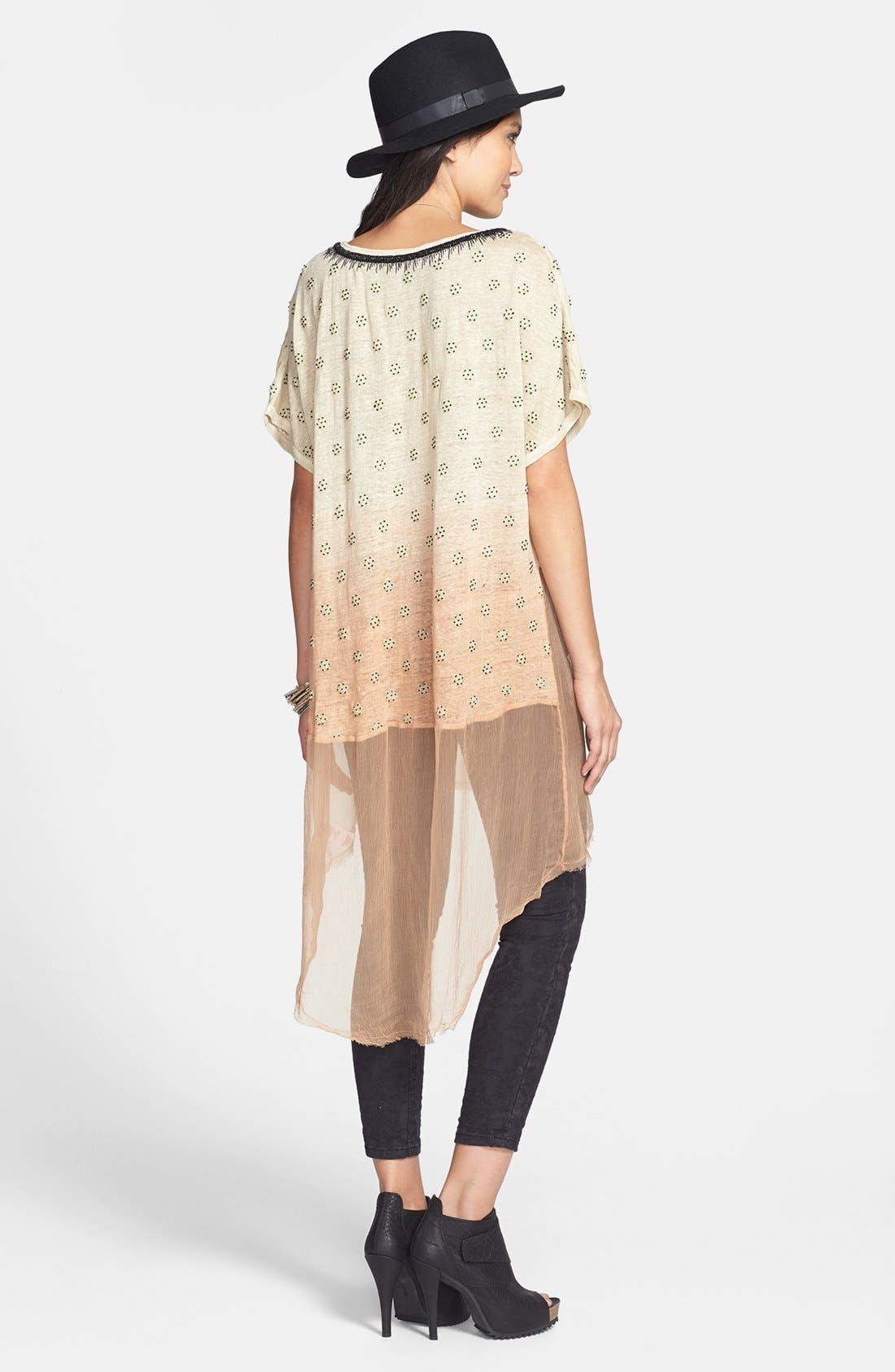 Alternate Image 2  - Free People 'Diamond' Embellished Dip Dye Linen Tunic