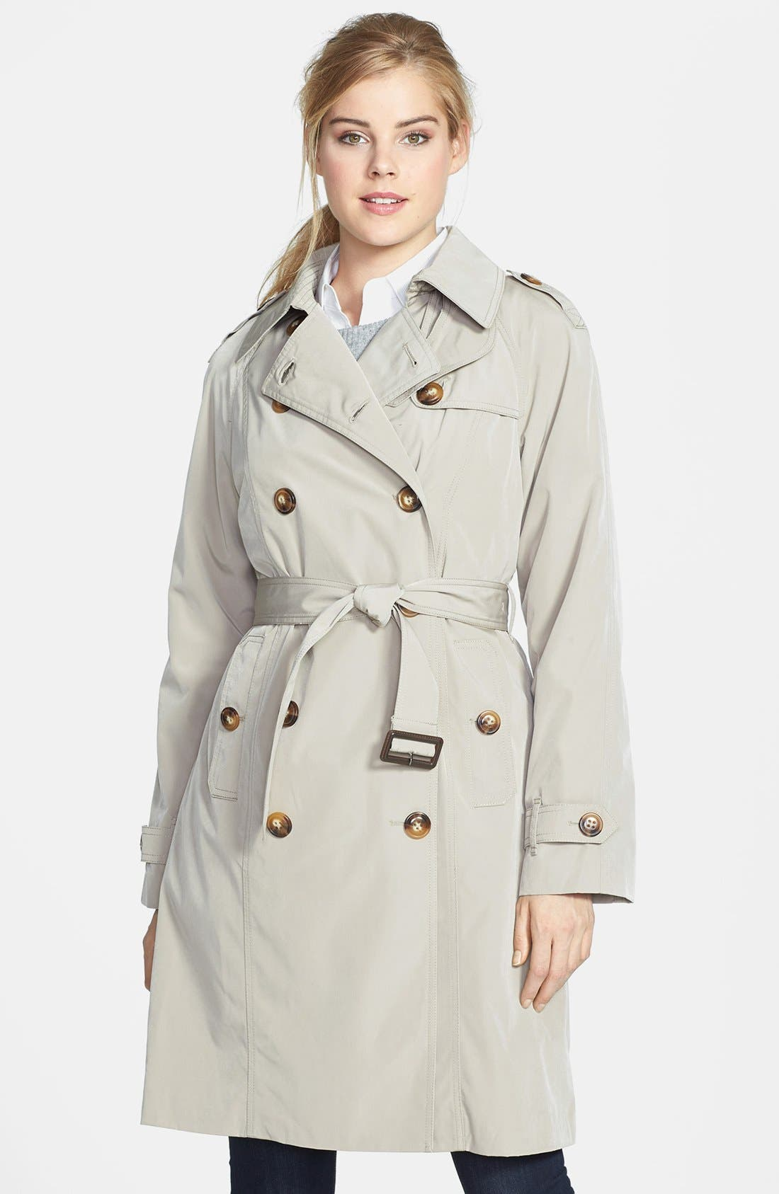 Main Image - London Fog Double Breasted Trench Coat with Detachable Liner