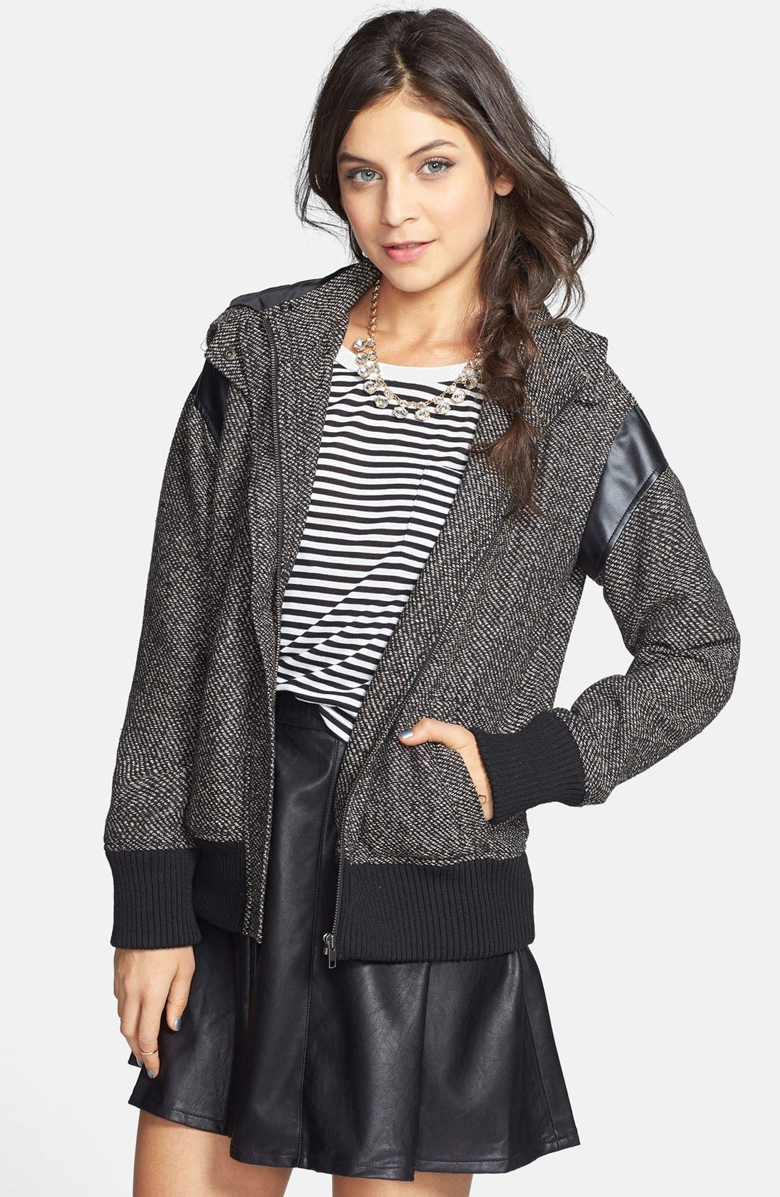 Main Image - BP. Faux Leather Shoulder Tweed Bomber Jacket (Juniors)