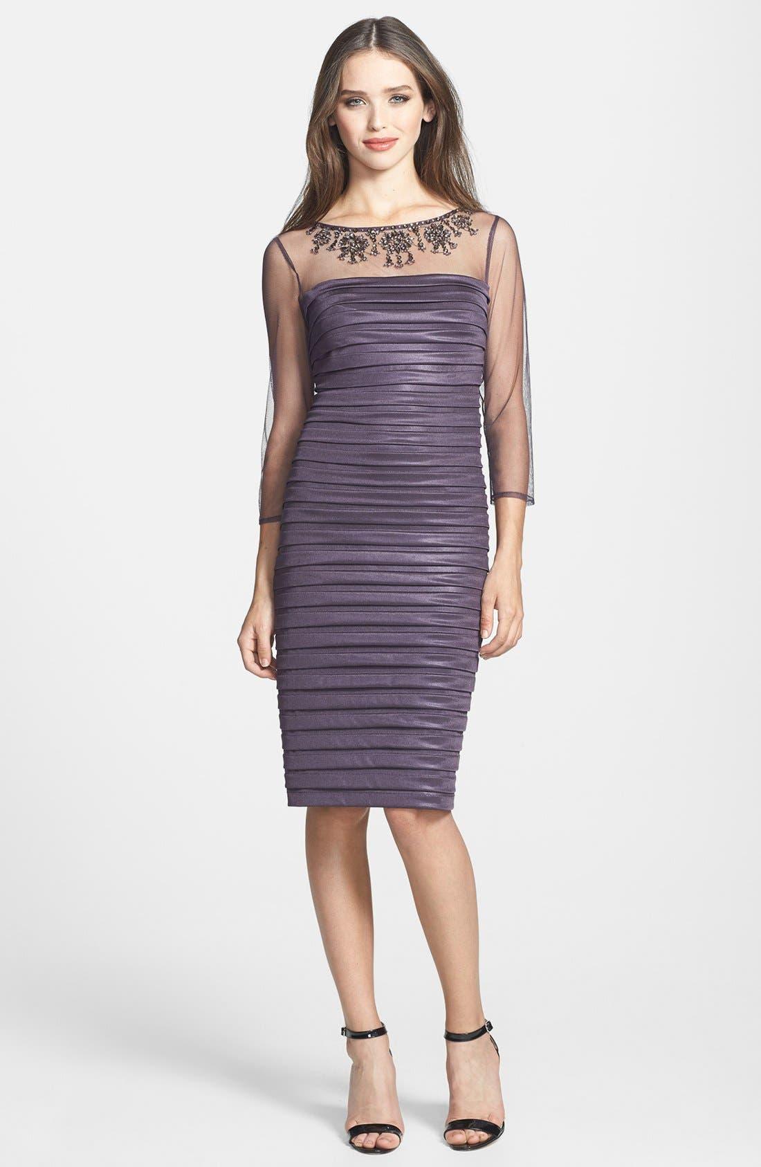 Alternate Image 1 Selected - Adrianna Papell Embellished Illusion Yoke Banded Sheath Dress