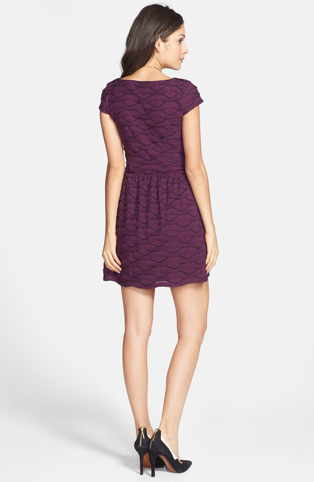 Alternate Image 2  - Socialite Ruffled Skater Dress (Juniors)