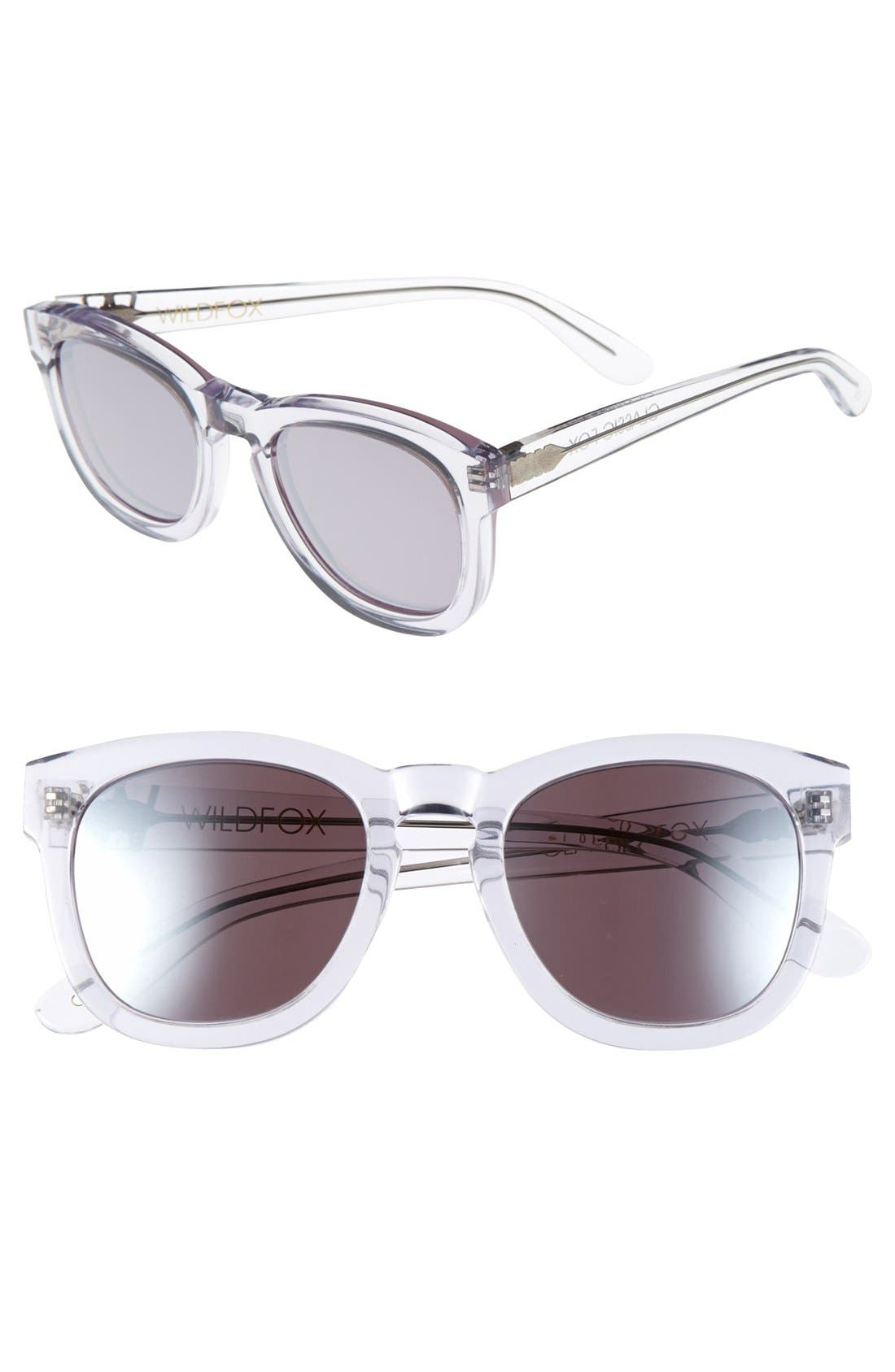 Classic Fox - Deluxe 59mm Sunglasses,                             Main thumbnail 1, color,                             Crystal