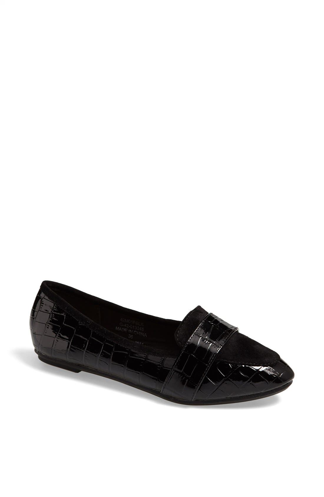 Alternate Image 1 Selected - Topshop 'Mardi 2' Croc Embossed Flat