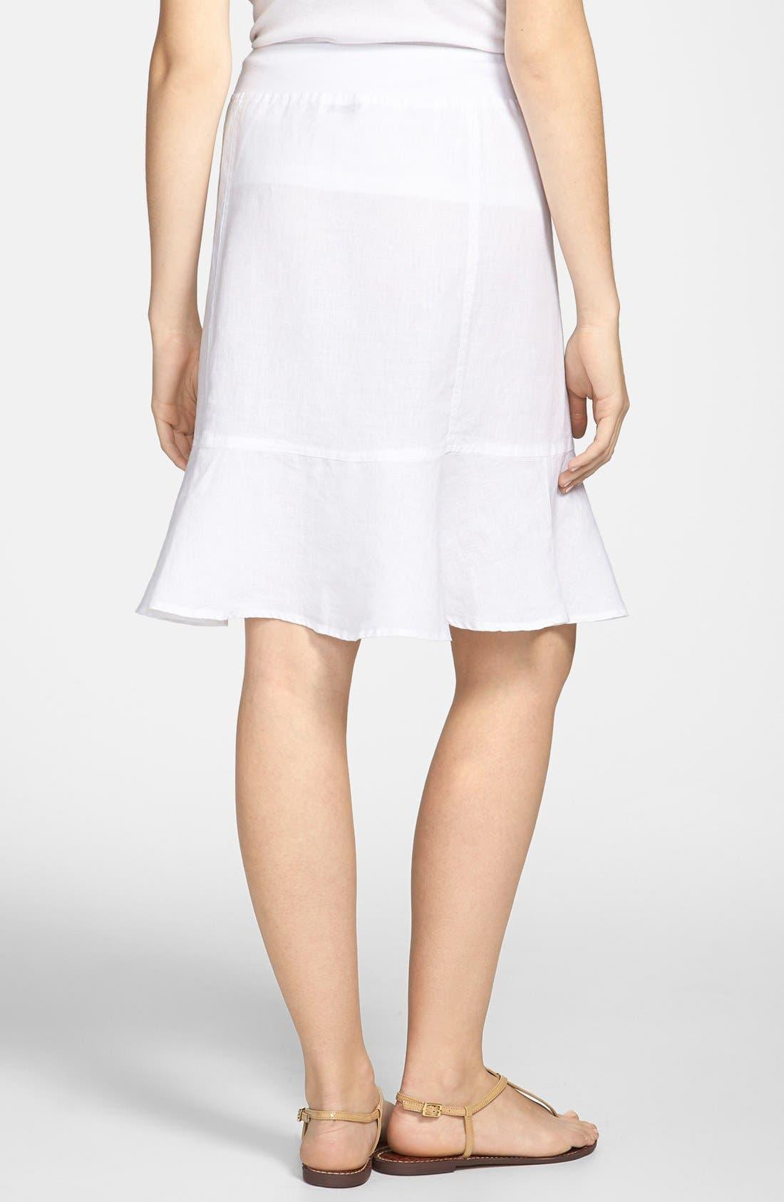 Alternate Image 2  - Allen Allen Ruffle Hem Linen Skirt