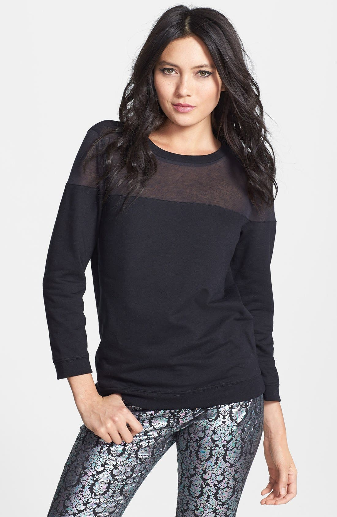 Sheer Yoke Sweatshirt,                         Main,                         color, Black