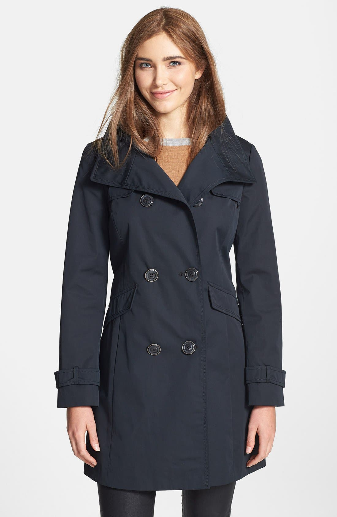 Alternate Image 1 Selected - Ellen Tracy Double Breasted Raincoat (Online Only)