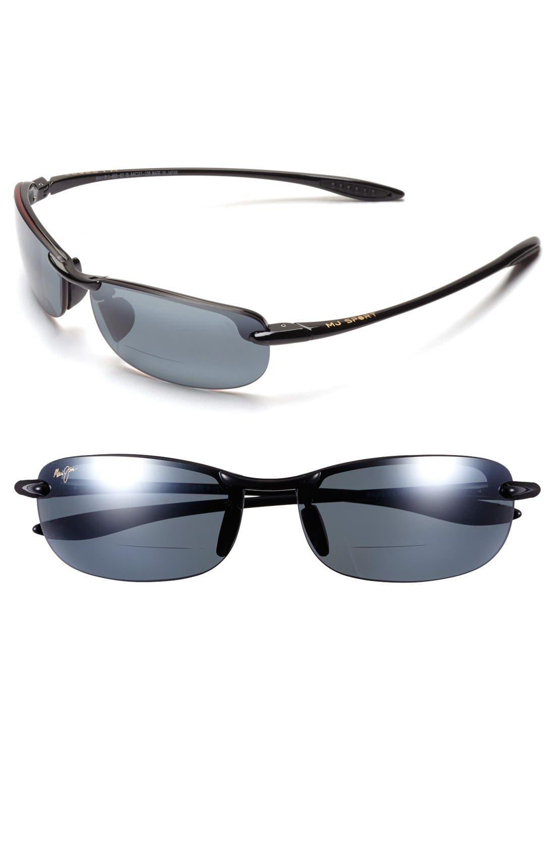 'Makaha' 64mm Reading Sunglasses,                         Main,                         color, Gloss Black