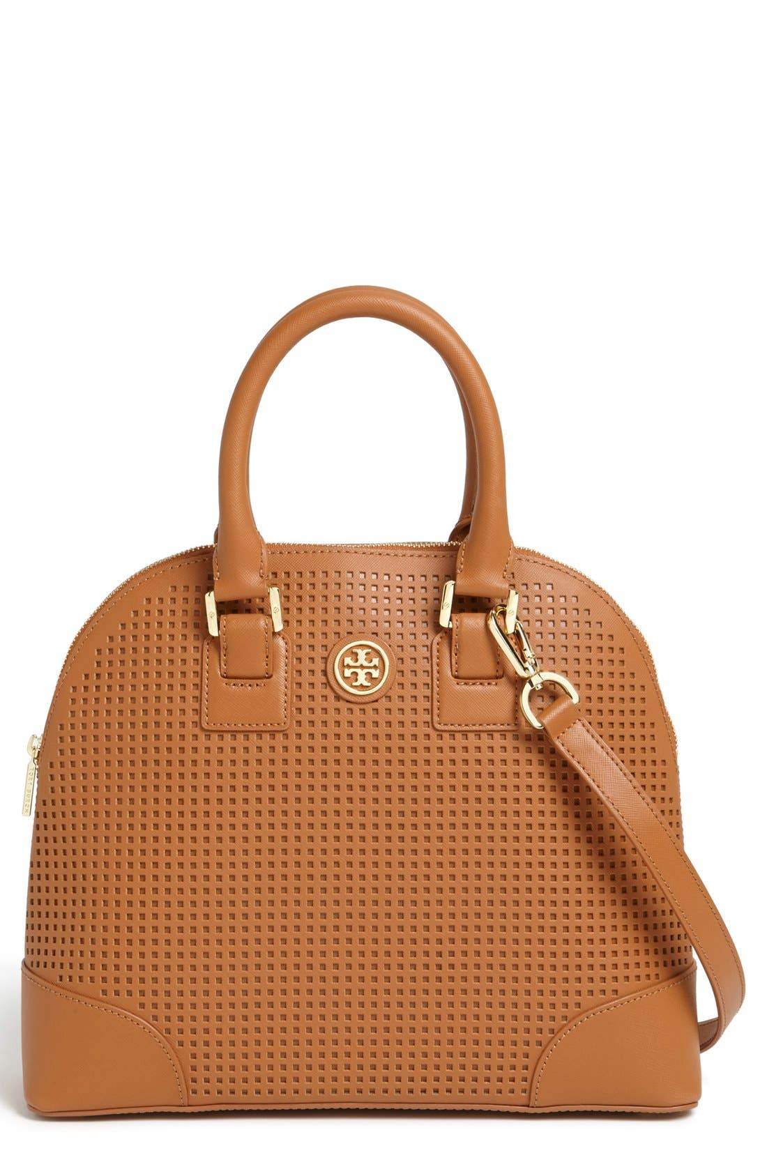 Main Image - Tory Burch 'Robinson' Perforated Leather Dome Satchel