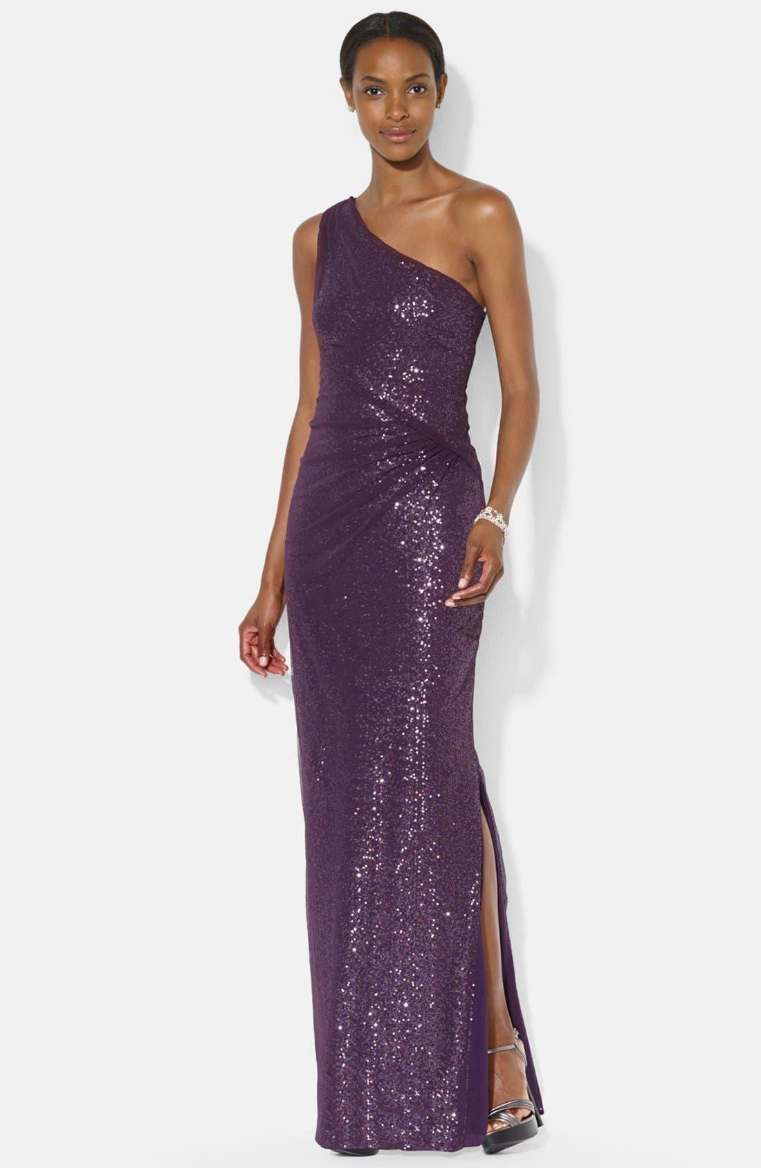 Main Image - Lauren Ralph Lauren Mesh Overlay Sequin One-Shoulder Gown