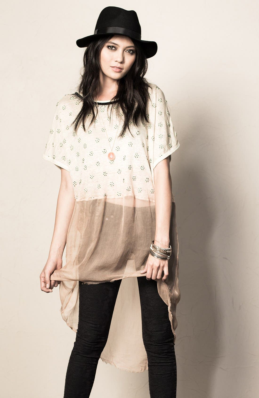Alternate Image 4  - Free People 'Diamond' Embellished Dip Dye Linen Tunic