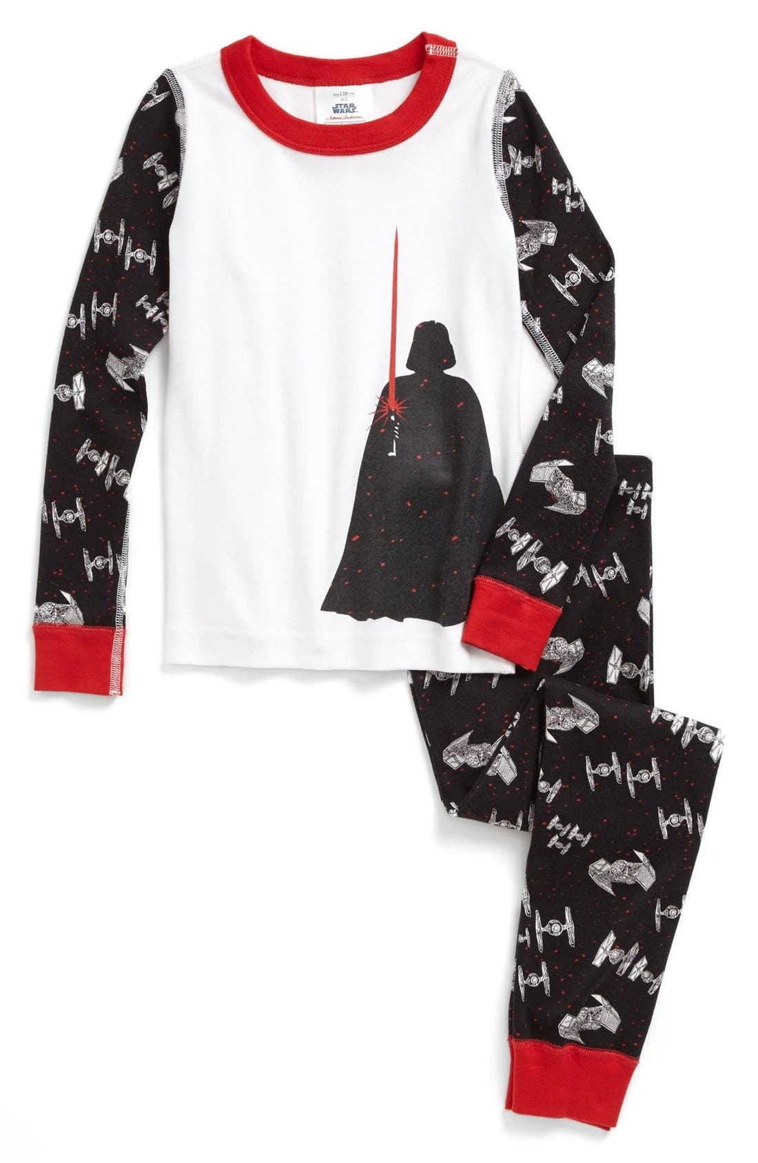 Alternate Image 1 Selected - Hanna Andersson 'Star Wars™ - Darth's Light' Two-Piece Fitted Organic Cotton Pajamas (Toddler Boys)