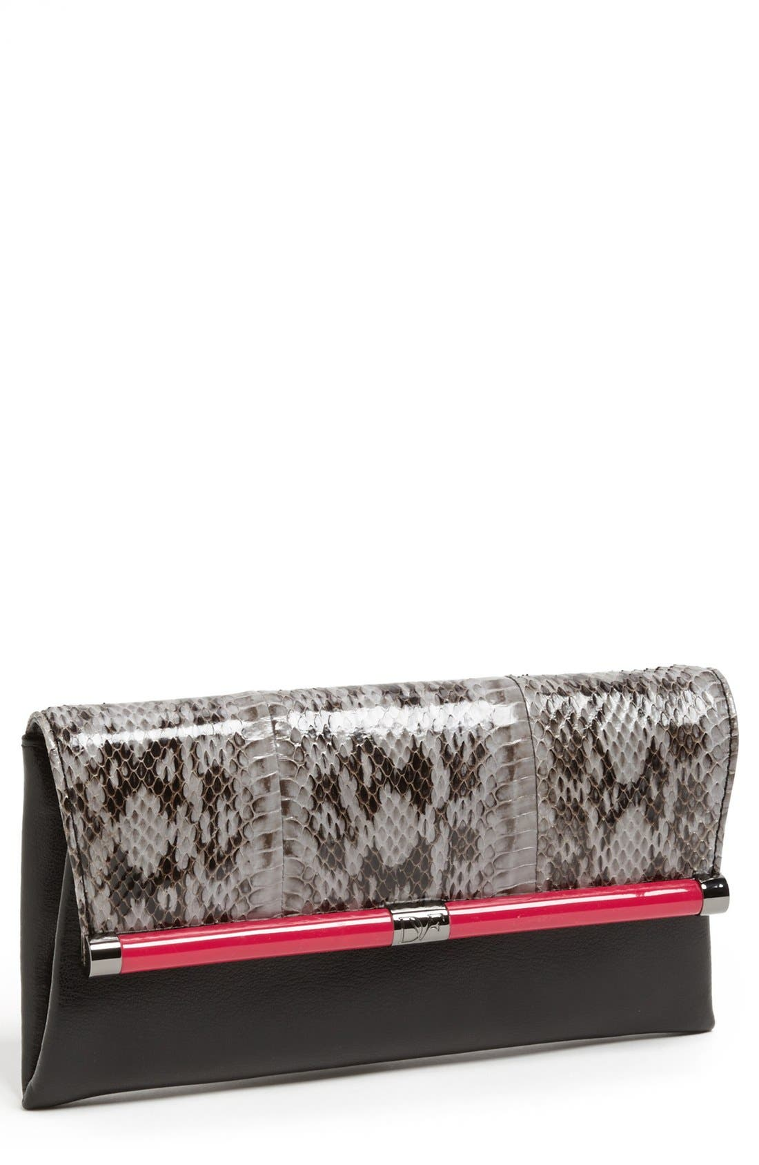 Alternate Image 1 Selected - Diane von Furstenberg '440' Snakeskin Envelope Clutch
