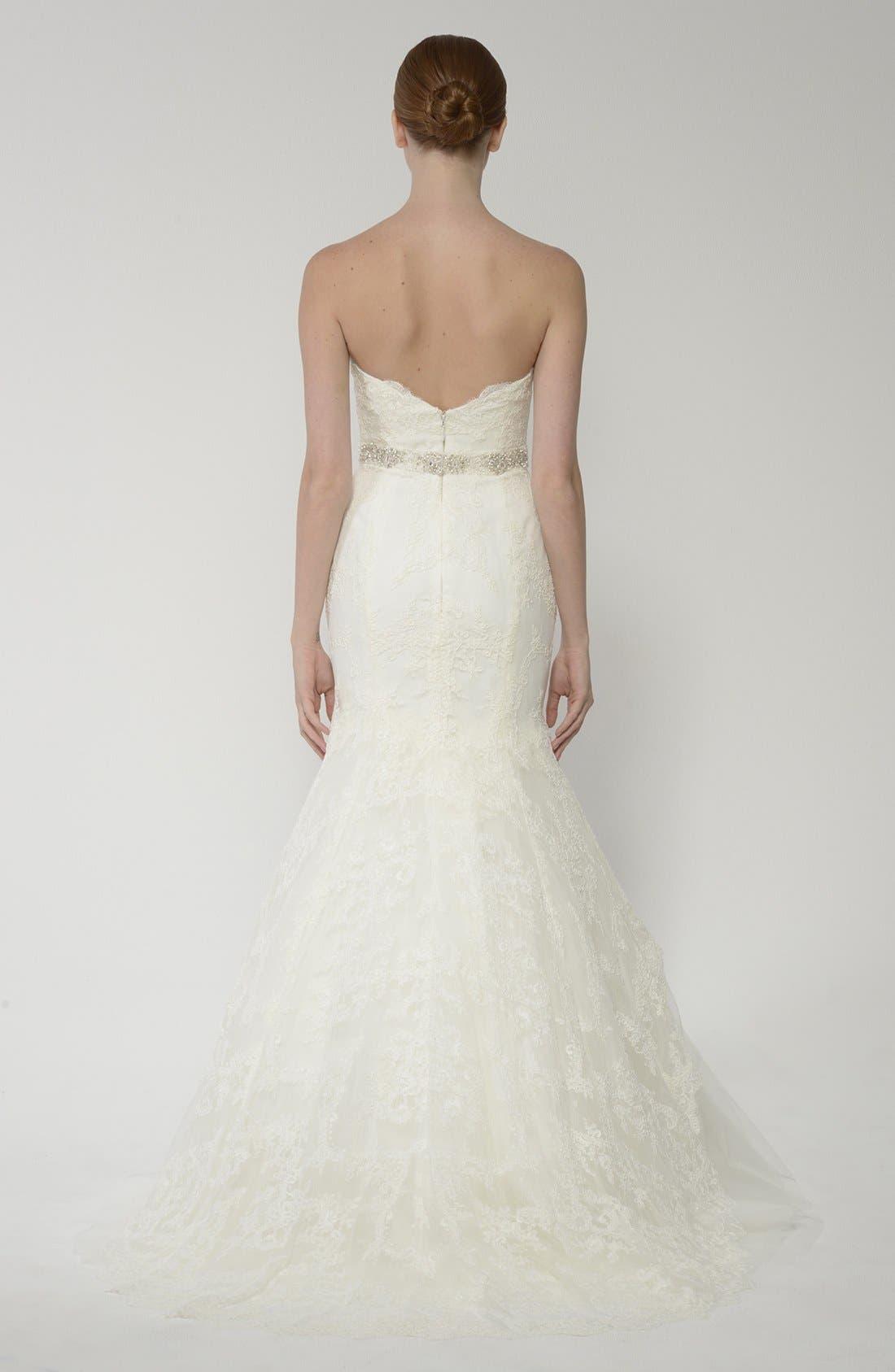 Alternate Image 5  - BLISS Monique Lhuillier Lace Overlay Tulle Trumpet Wedding Dress