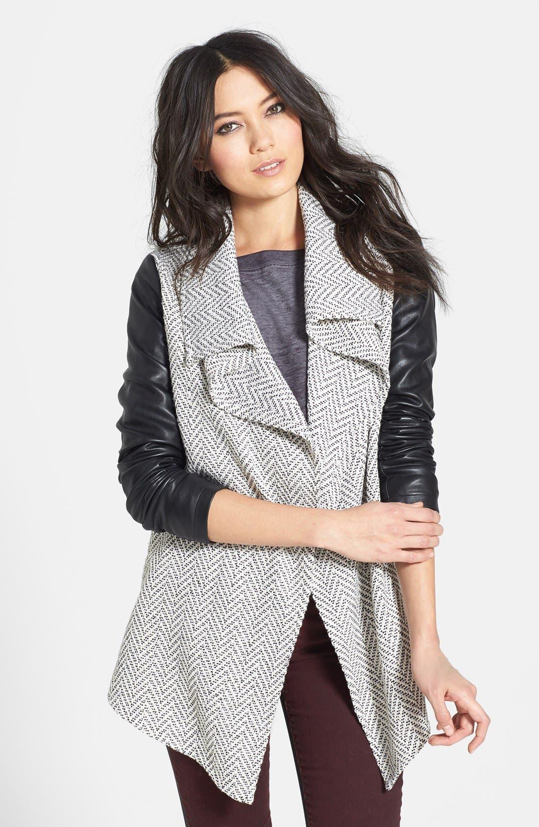Main Image - Glamorous Faux Leather Sleeve Knit Jacket