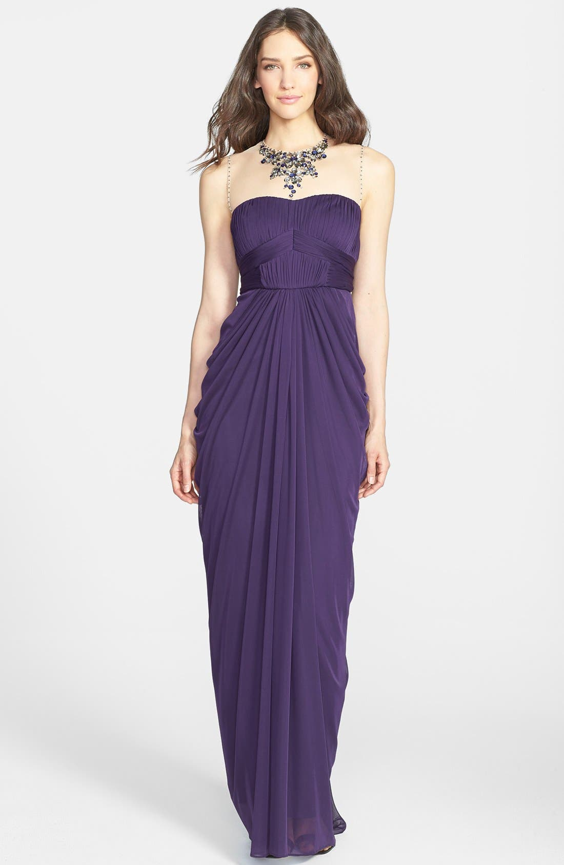 Main Image - Adrianna Papell Embellished & Draped Mesh Gown (Regular & Petite)