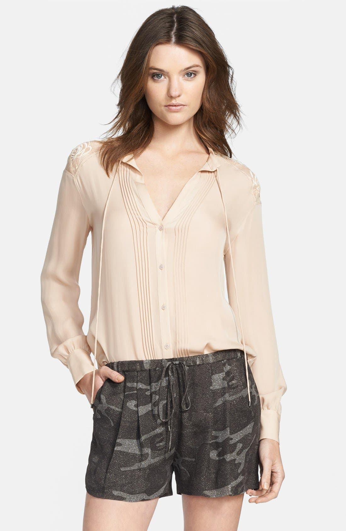Alternate Image 1 Selected - Haute Hippie Pleated Silk Blouse