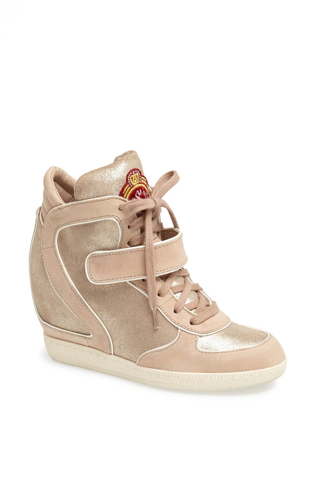 Main Image - Ash 'Brendy' Hidden Wedge Suede & Metallic Leather Sneaker
