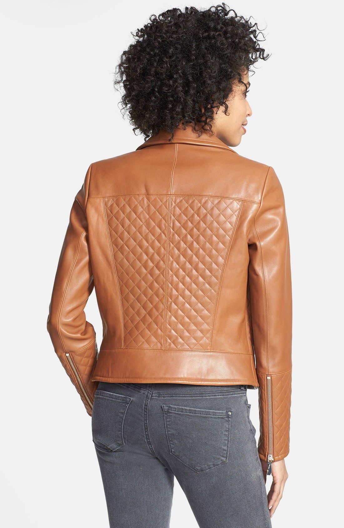 Alternate Image 2  - Calvin Klein Quilt Detail Asymmetrical Leather Moto Jacket (Online Only)