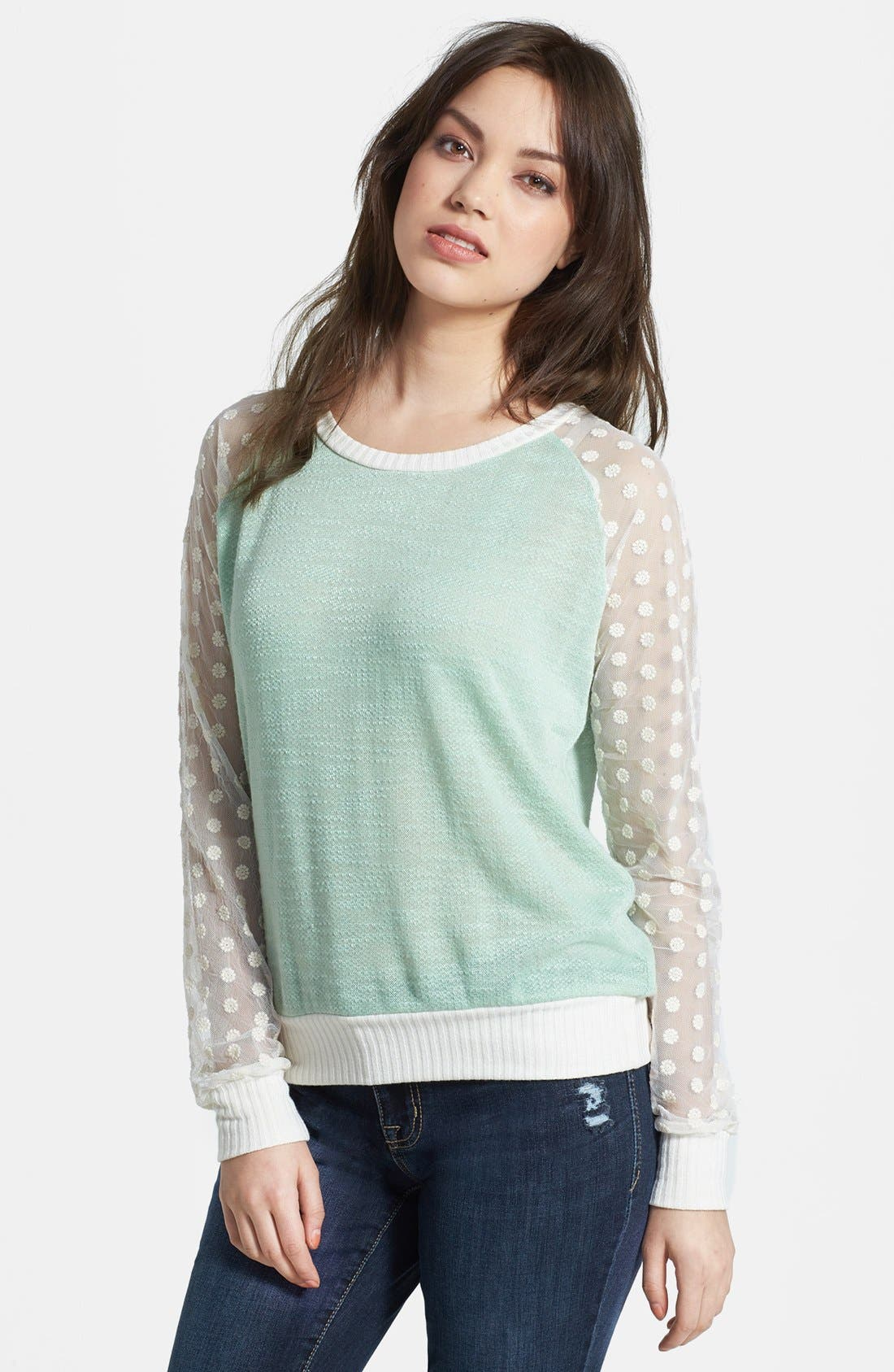 Main Image - Olivia Moon Sheer Sleeve Sweater