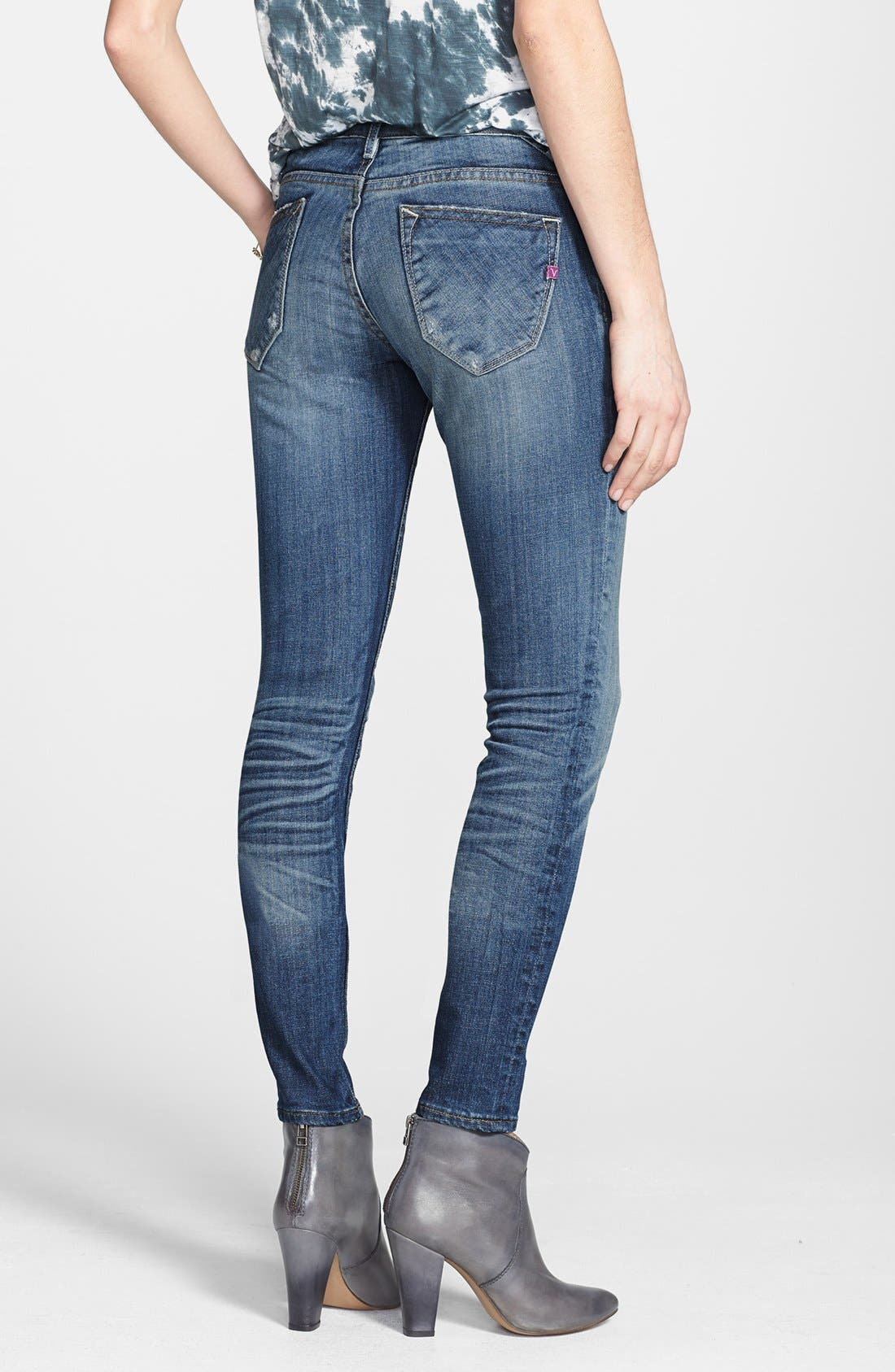 Alternate Image 2  - Vigoss Destroyed Skinny Jeans (Medium) (Juniors)