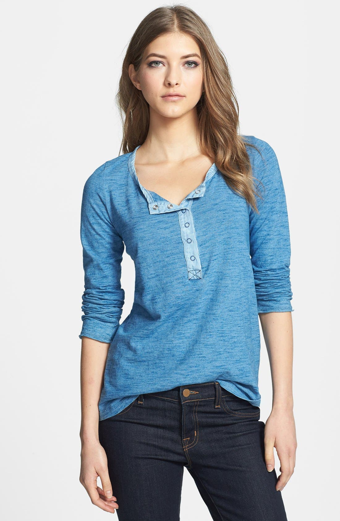 Alternate Image 1 Selected - Splendid Snap Button Cotton Henley