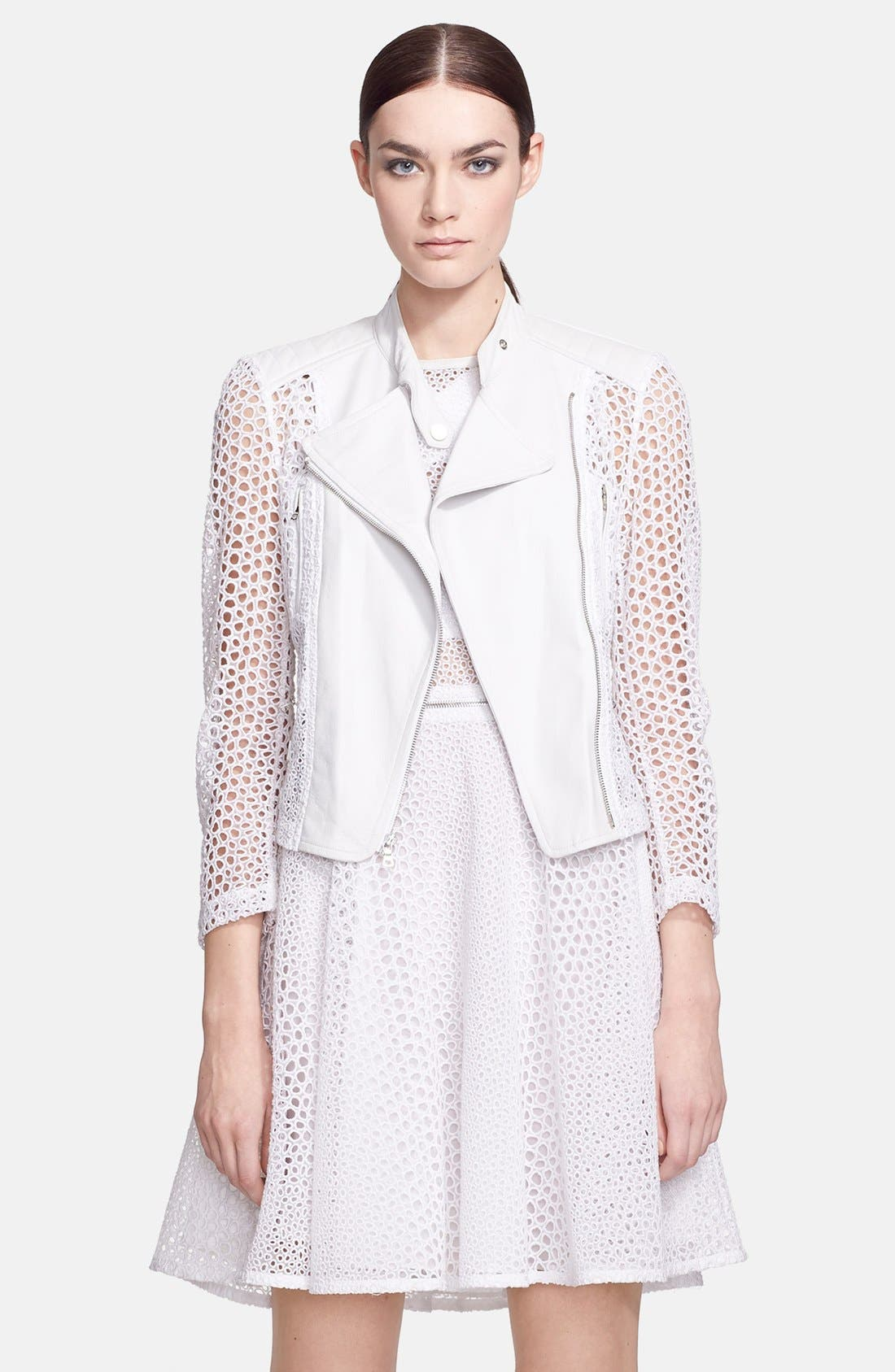 Alternate Image 1 Selected - Yigal Azrouël Organza Eyelet & Leather Jacket