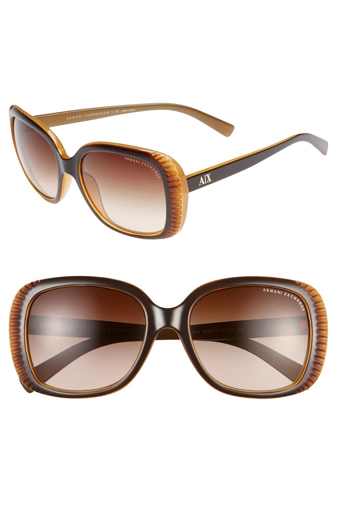 Main Image - AX Armani Exchange 57mm Butterfly Sunglasses