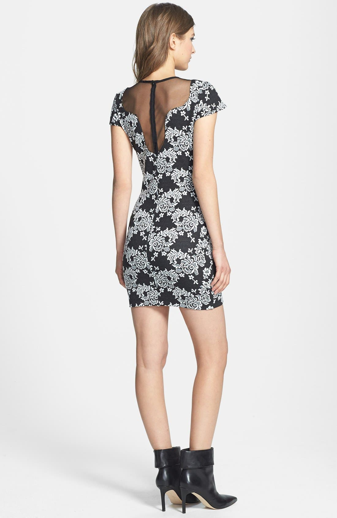 Alternate Image 2  - One Rad Girl Sheer Inset Floral Body-Con Dress