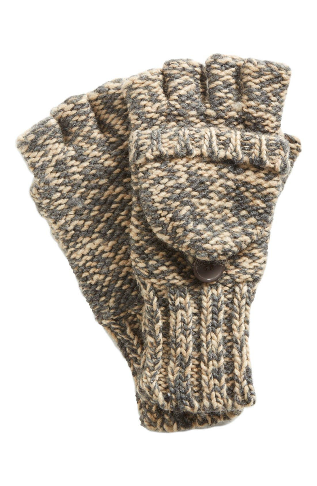Marled 'Pop Top' Gloves,                             Main thumbnail 1, color,                             Classic Camel Heather