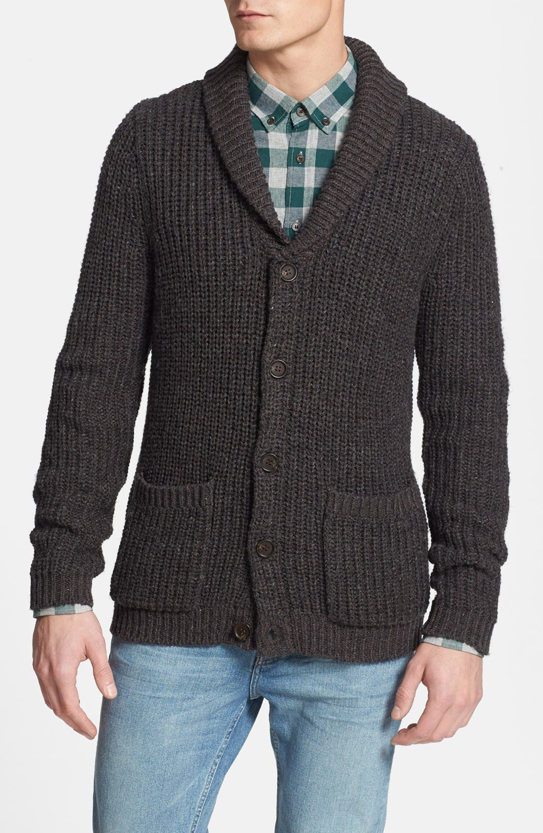 Main Image - Topman Ribbed Shawl Collar Cardigan