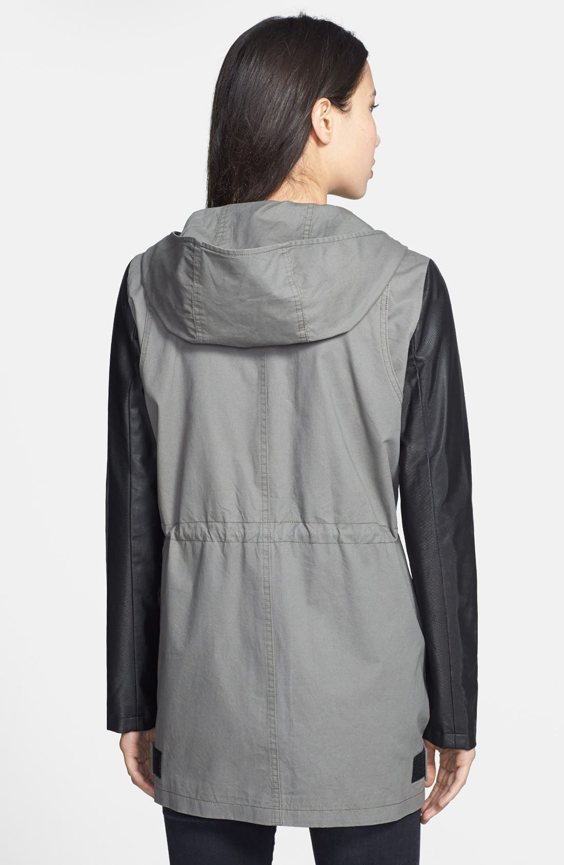 Alternate Image 2  - DKNY 'Cassidy' Faux Leather Sleeve Anorak
