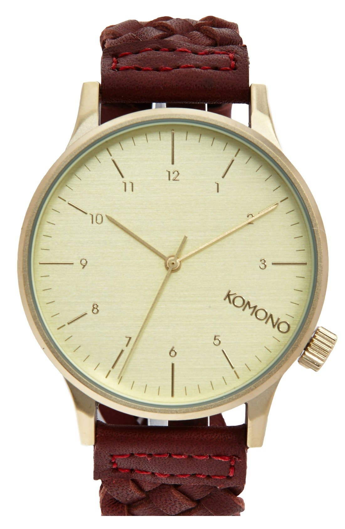 'Winston' Round Dial Woven Leather Strap Watch, 40mm,                         Main,                         color, Burgundy