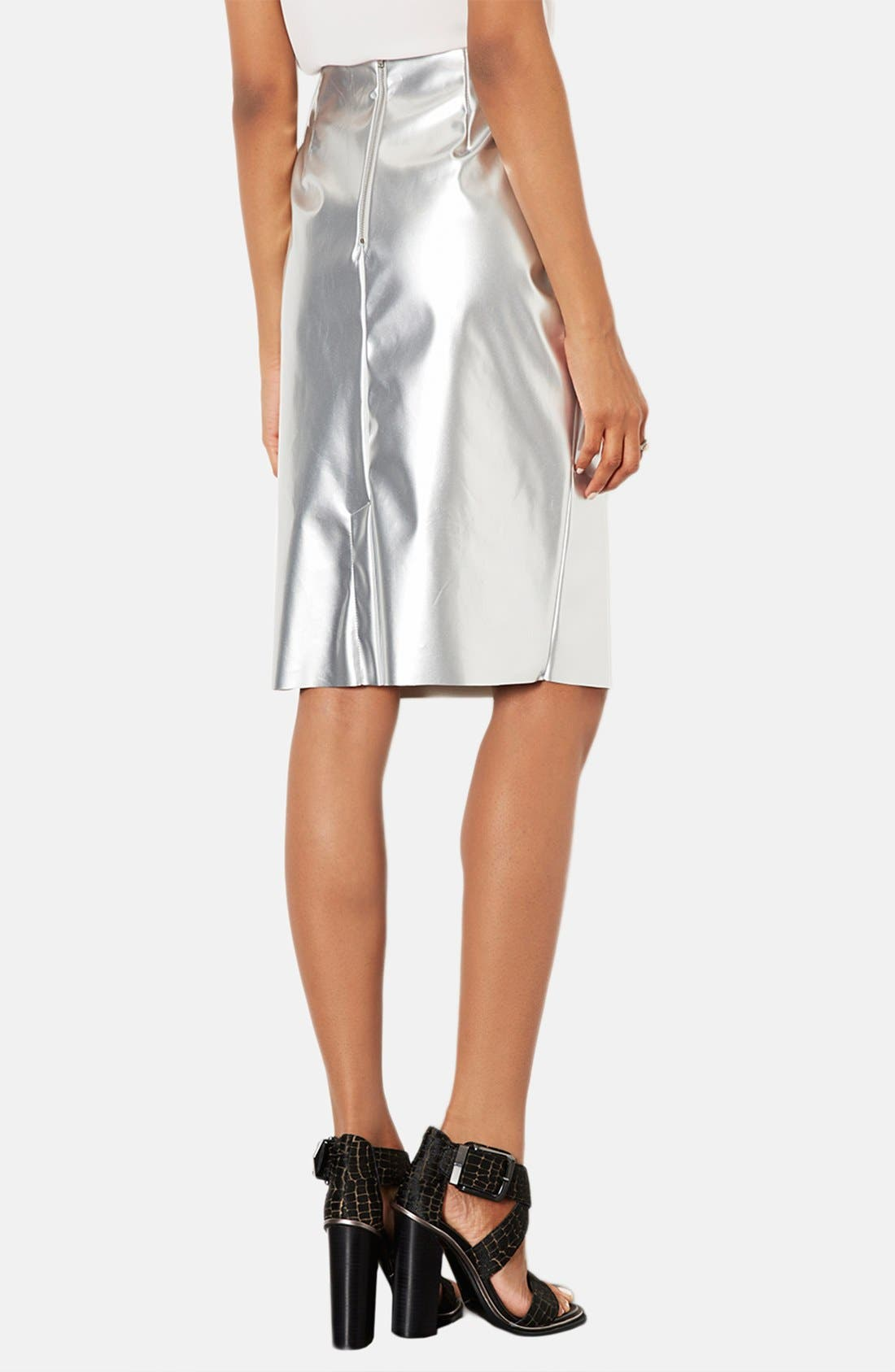 Alternate Image 2  - Topshop Metallic Pencil Skirt