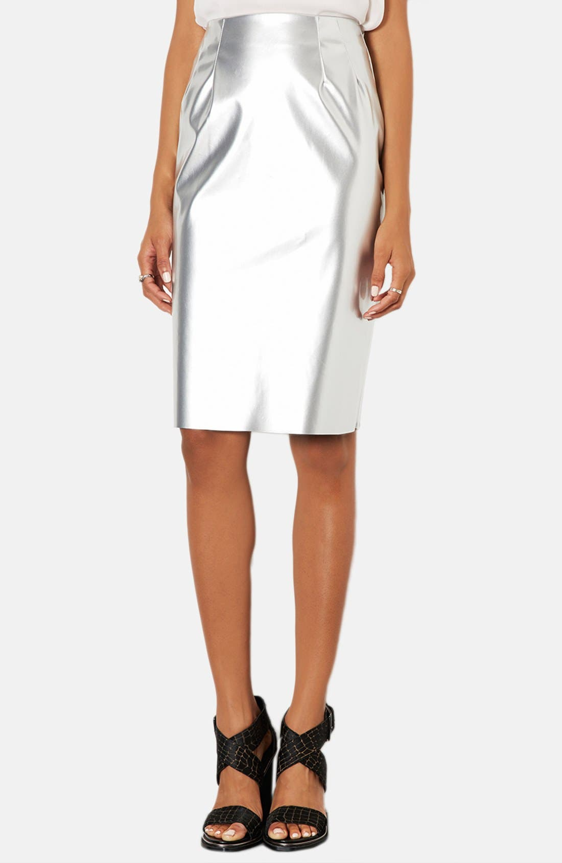 Main Image - Topshop Metallic Pencil Skirt