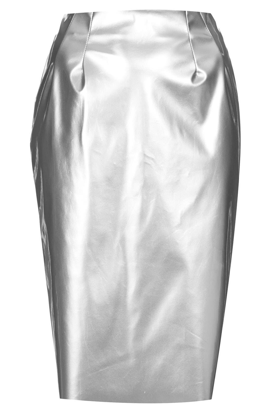 Alternate Image 3  - Topshop Metallic Pencil Skirt