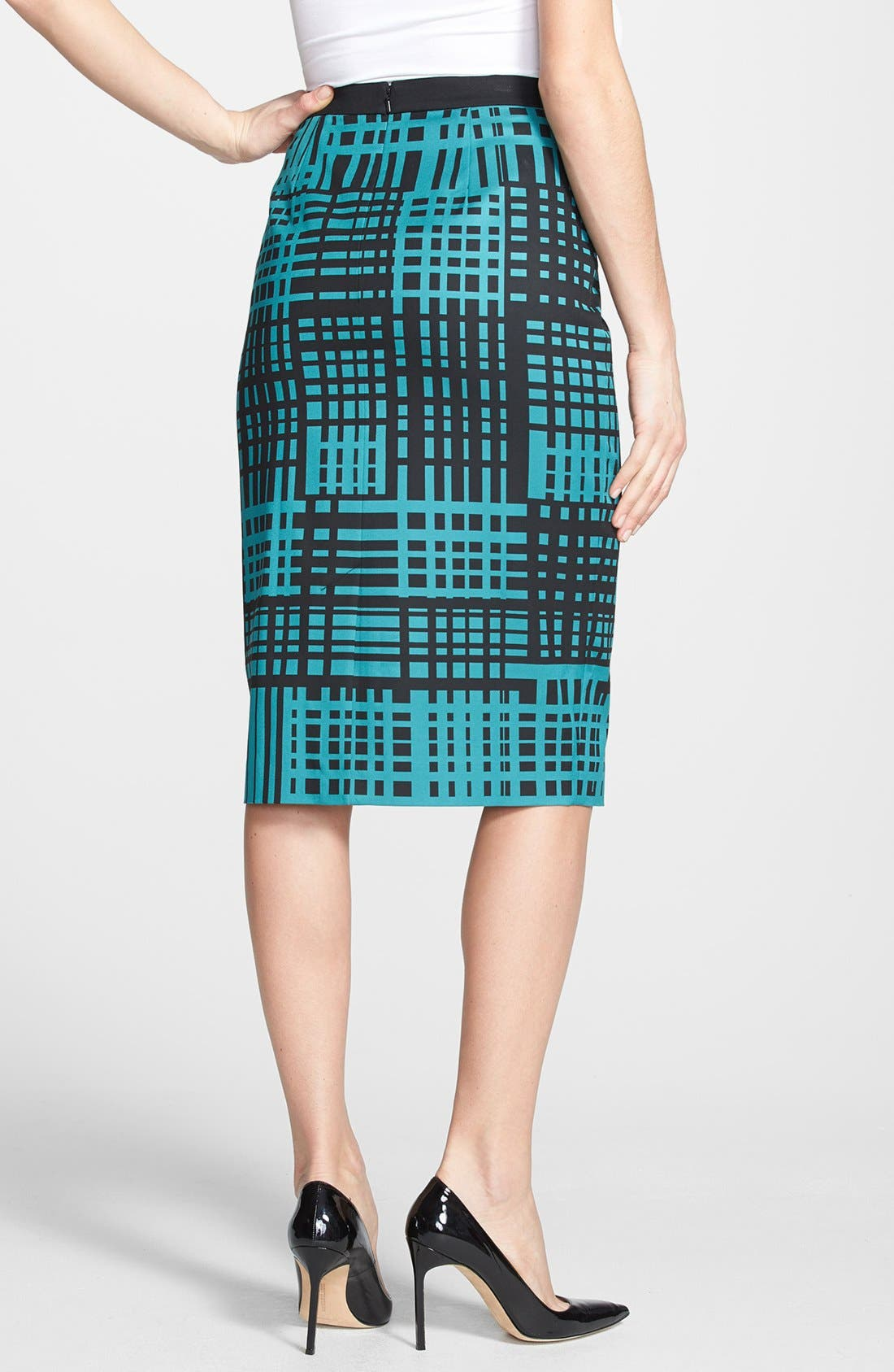 Print Pencil Skirt,                             Alternate thumbnail 2, color,                             Black/ Teal Bayou Combo