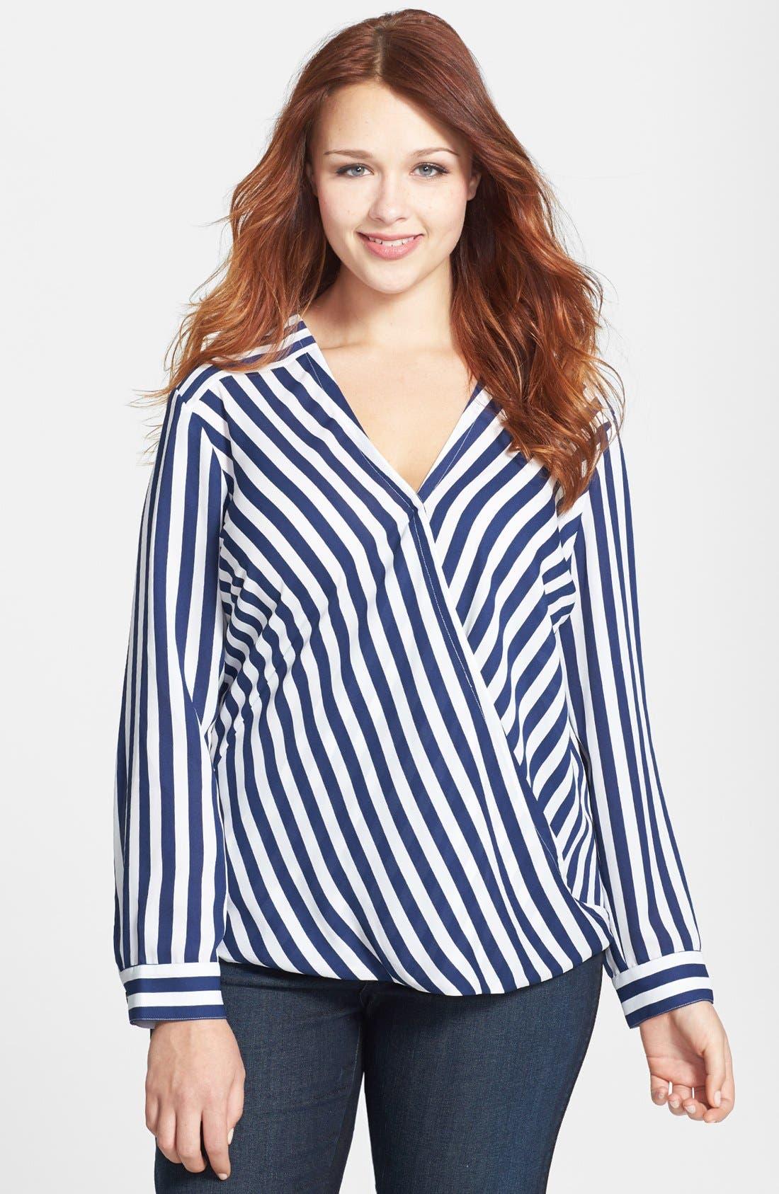 Main Image - Sejour Striped Faux Wrap Blouse (Plus Size)