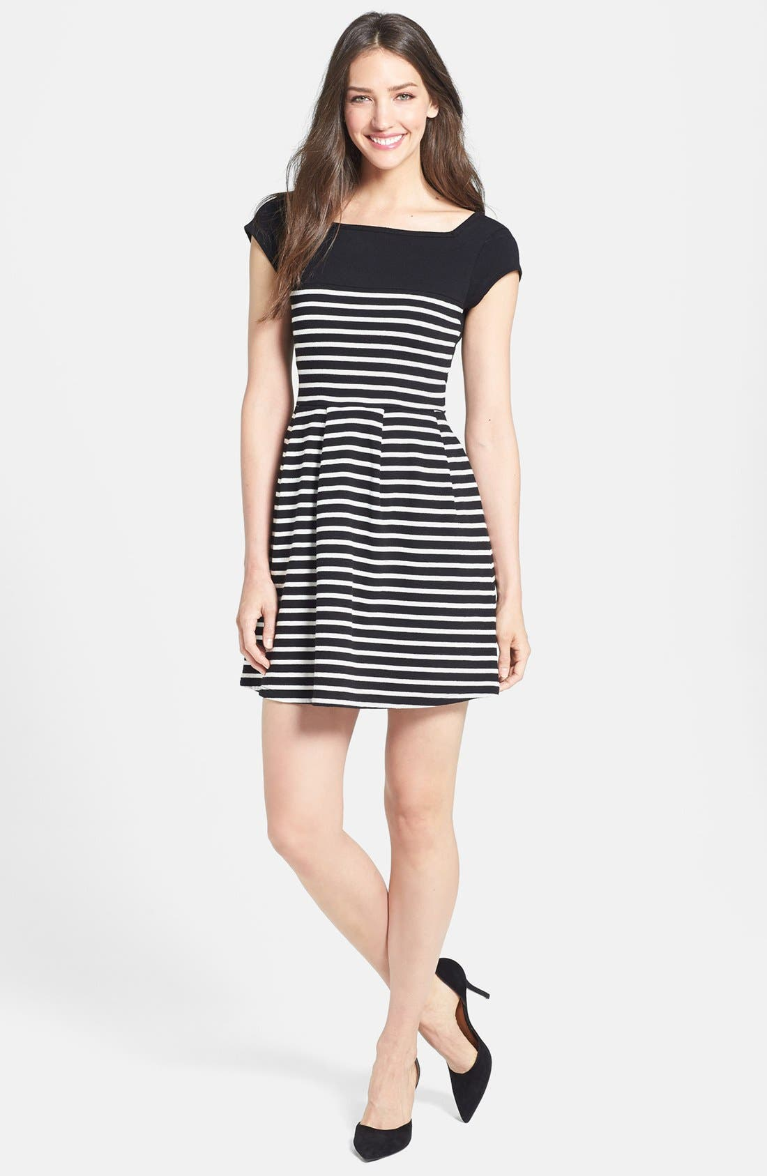 Alternate Image 3  - French Connection Cap Sleeve Stripe Dress