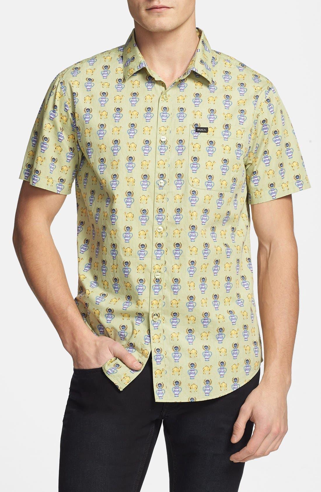 Main Image - RVCA 'Alsweiler Camel' Print Short Sleeve Shirt