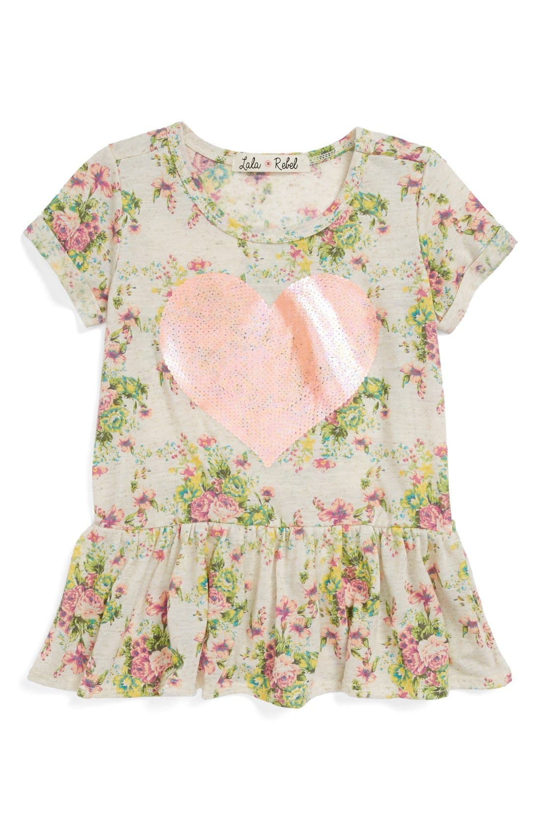 Main Image - Lala Rebel Sequin Print Peplum Top (Toddler Girls)